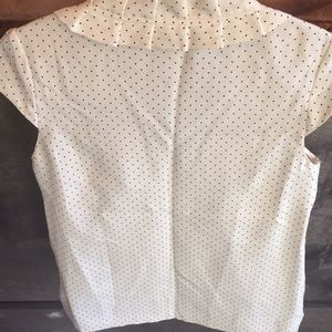 kate spade Tops - Cream with black dot ruffle blouse